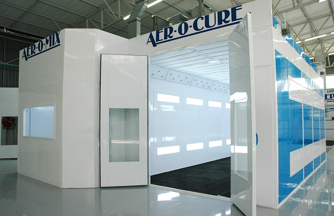 AC75-3400 Aer-o-cure Sprinter booth with waterborne Venturi blower system.