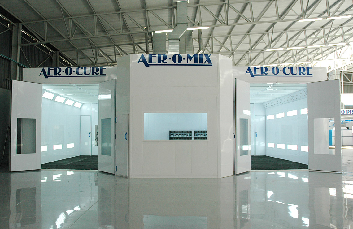AC75-3400 Aer-o-cure Sprinter booth, side by side with paint mixing room.