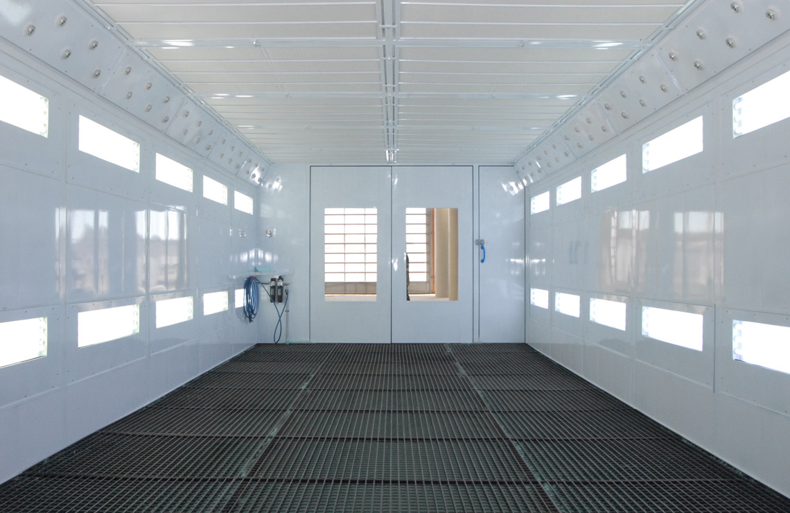 Internal view of a AC75-2800 spray booth showing position of lights and blower system for waterborne paint.