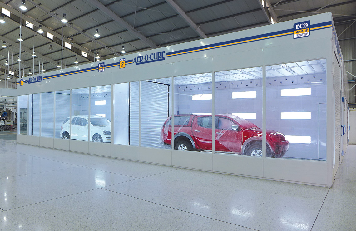 Two in-line drive through Aer-o-cure spray booth ovens, allowing paint shop complete flexibility of workflow.