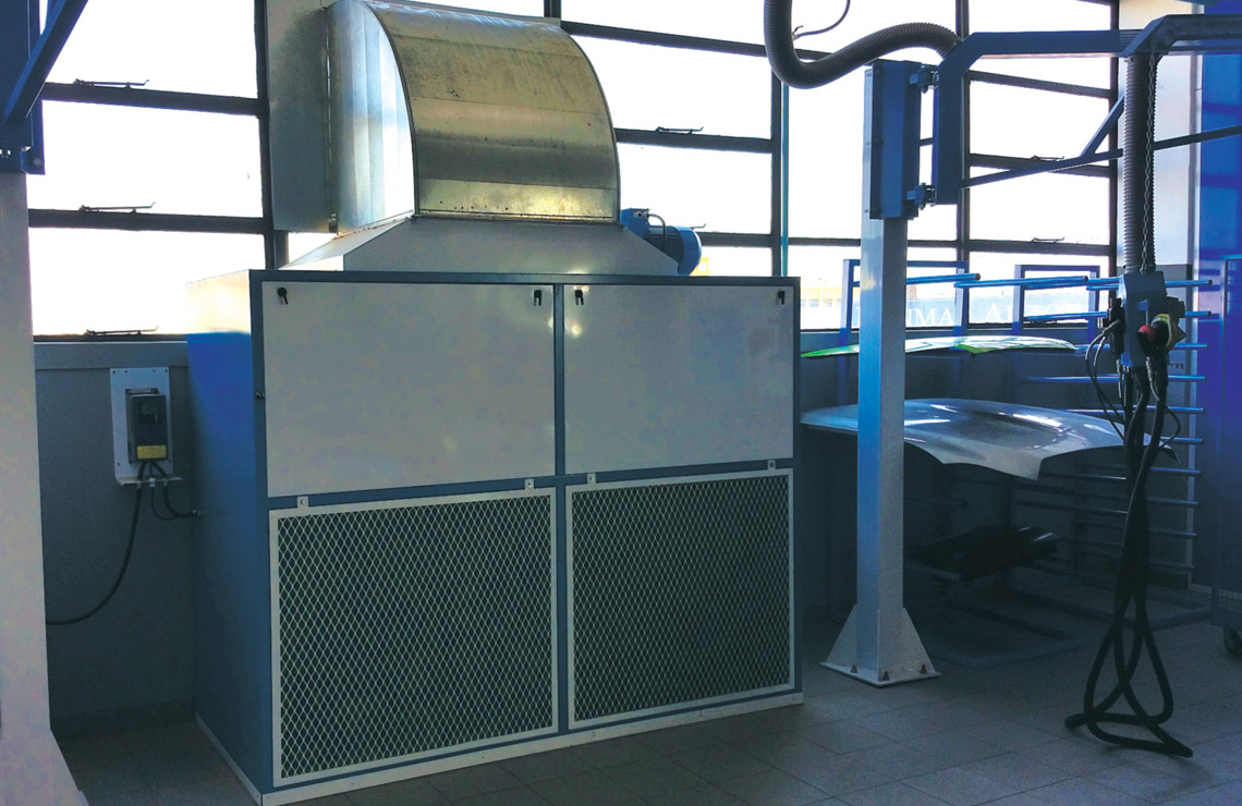 Cross Flow extraction unit, used in applications where civil works is not possible