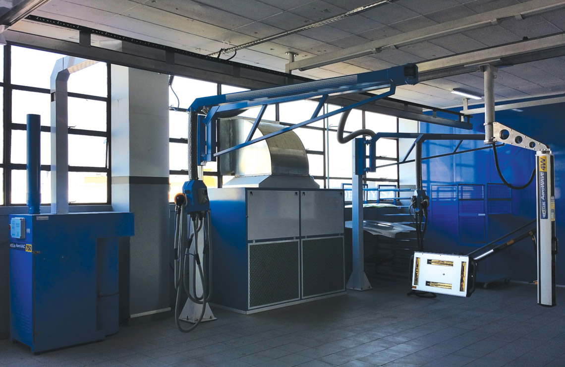 Cross Flow primer extraction with overhead infra red, Aer-o-vac 750 centralised vacuum with 2 x 6m swing arm workstations