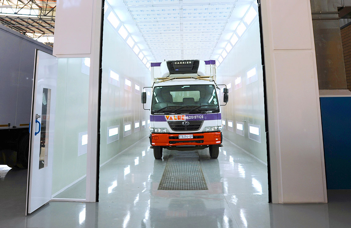 Combination truck spray booth oven