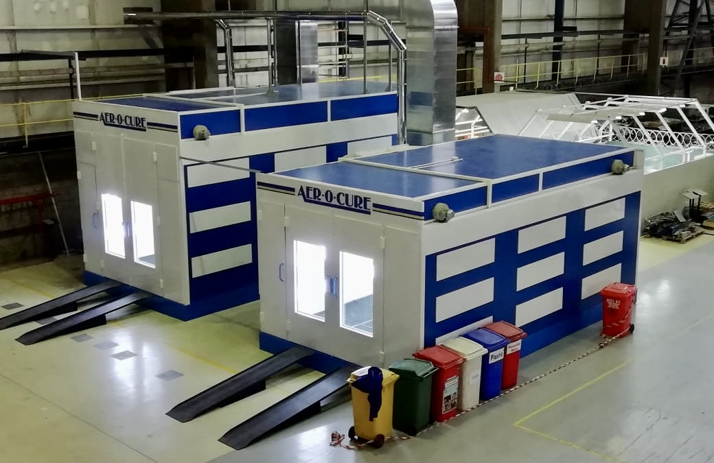 Spray booths at an OEM production plant.